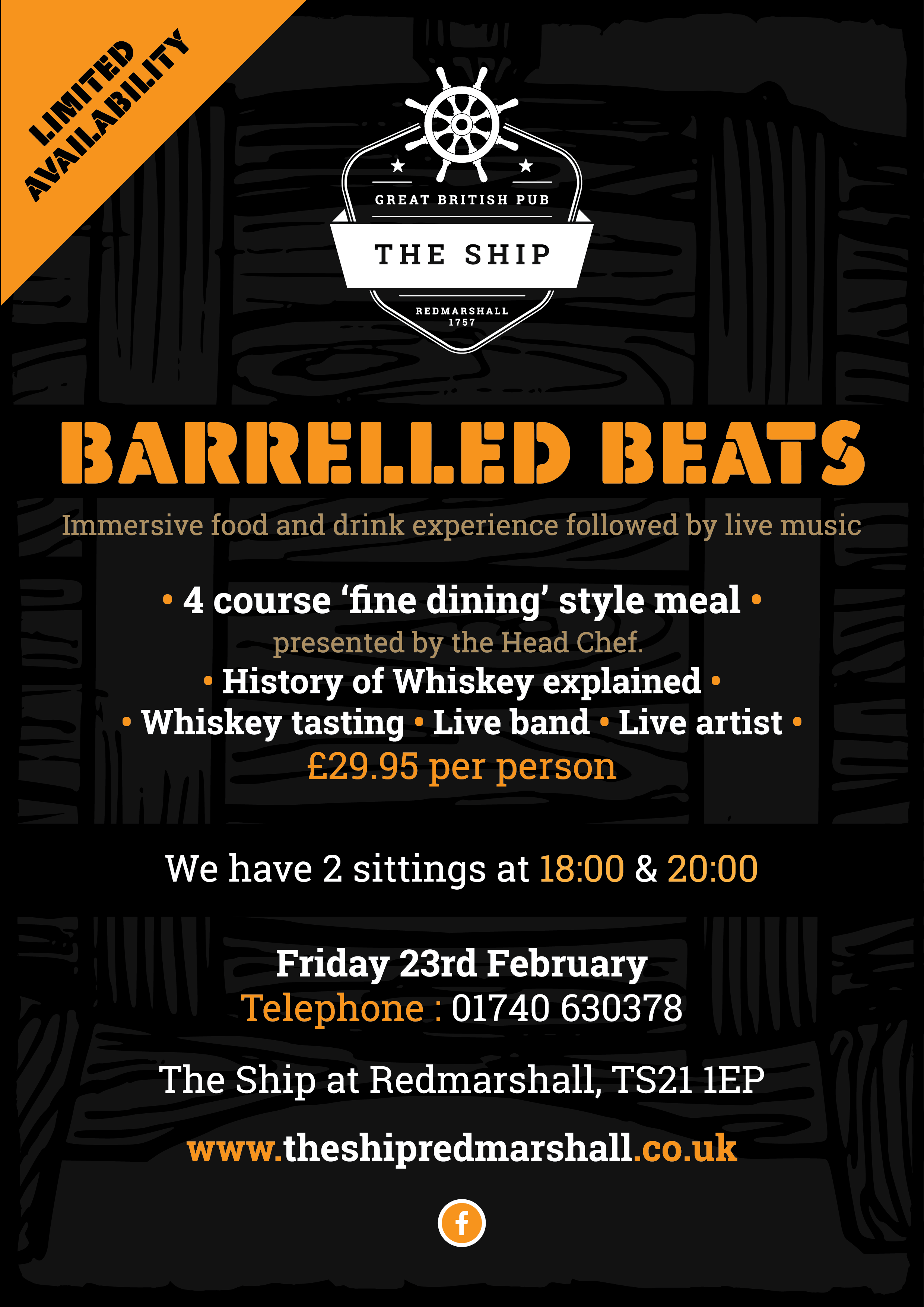 Barrelled Beats Whiskey Event at The Ship