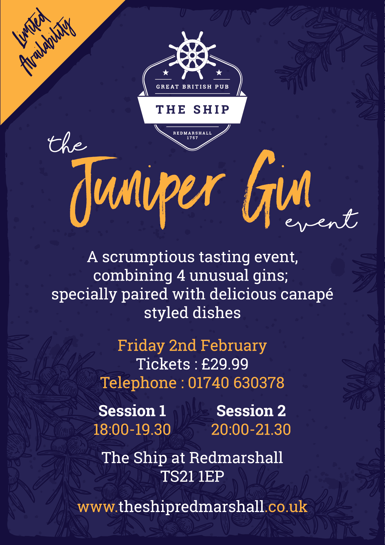 Juniper Gin Event @ The SHip Redmarshall, February 2nd 2018